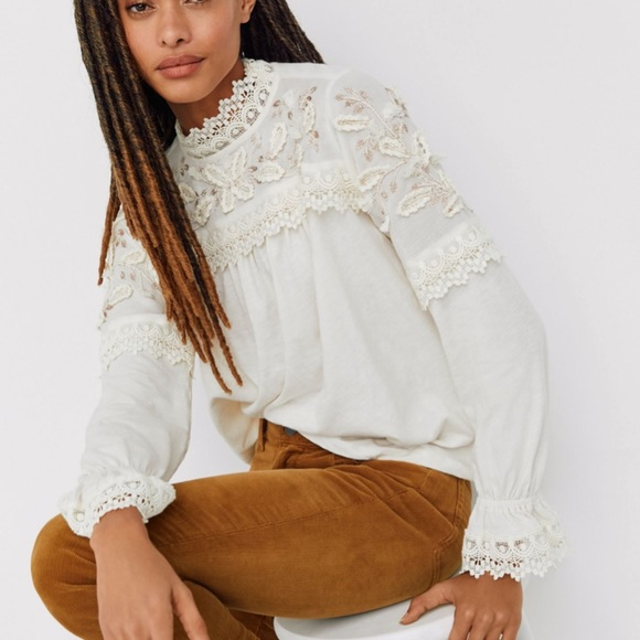 Anthropologie Tops - NWT embroidered lace blouse anthro